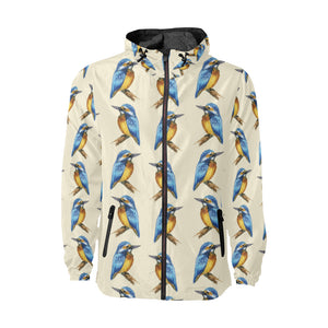 Kingfisher Pattern Print Design 01 Unisex Windbreaker Jacket