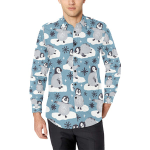 Penguin Pattern Print Design A05 Long Sleeve Dress Shirt