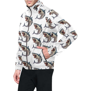 Great White Shark Pattern Print Design 03 Unisex Windbreaker Jacket