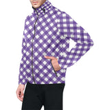 Gingham Purple Pattern Print Design 03 Unisex Windbreaker Jacket