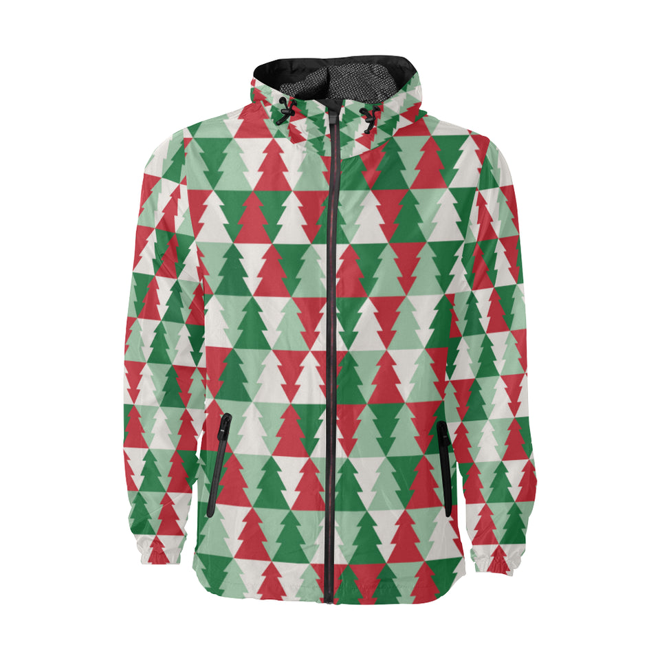 Christmas Tree Pattern Print Design 01 Unisex Windbreaker Jacket