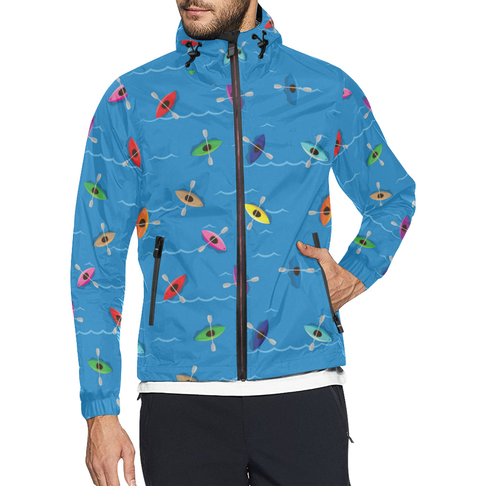 Kayak Pattern Print Design 03 Unisex Windbreaker Jacket