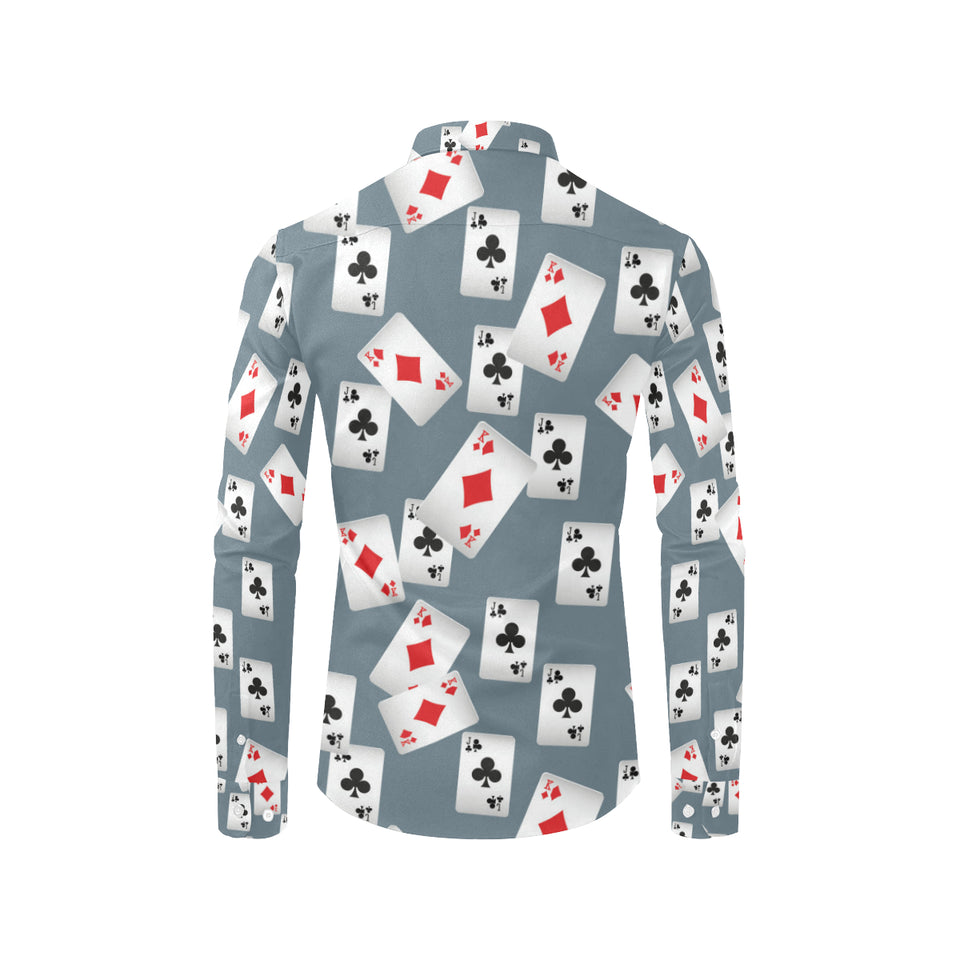 Poker Cards Pattern Print Design A05 Long Sleeve Dress Shirt