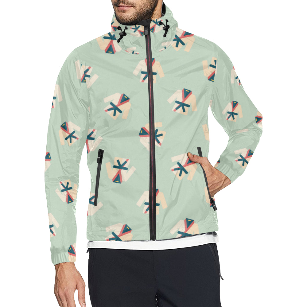 Karate Pattern Print Design 02 Unisex Windbreaker Jacket