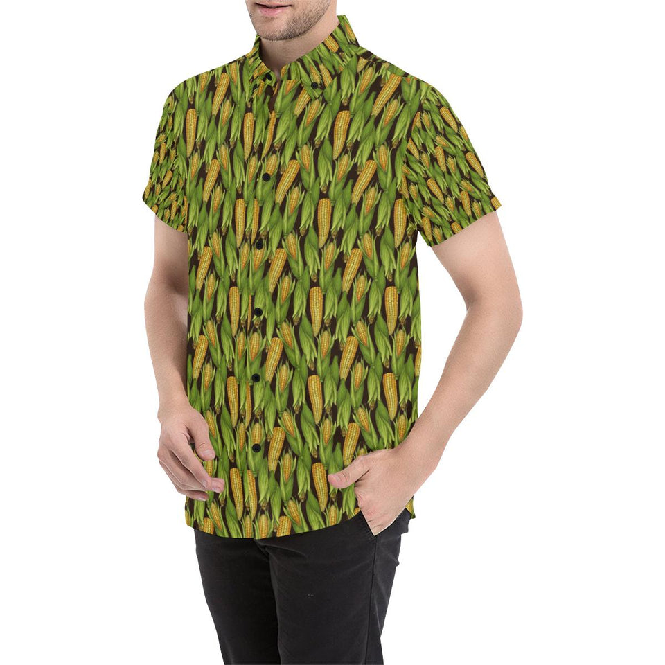 Agricultural Corn cob Print Button Up Shirt-kunshirts.com