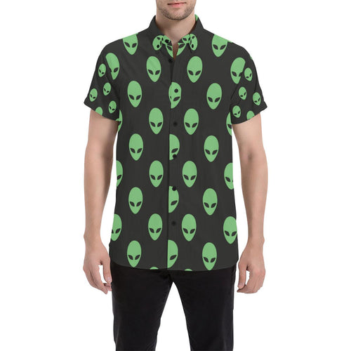 Alien Green Neon Pattern Print Design 01 Men's All Over Print Shirt (Model T53)-kunshirts.com