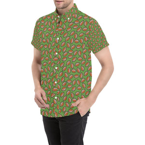 American Football on Green Design Button Up Shirt-kunshirts.com
