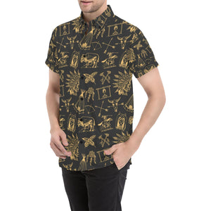 American indian Gold Style Button Up Shirt-kunshirts.com