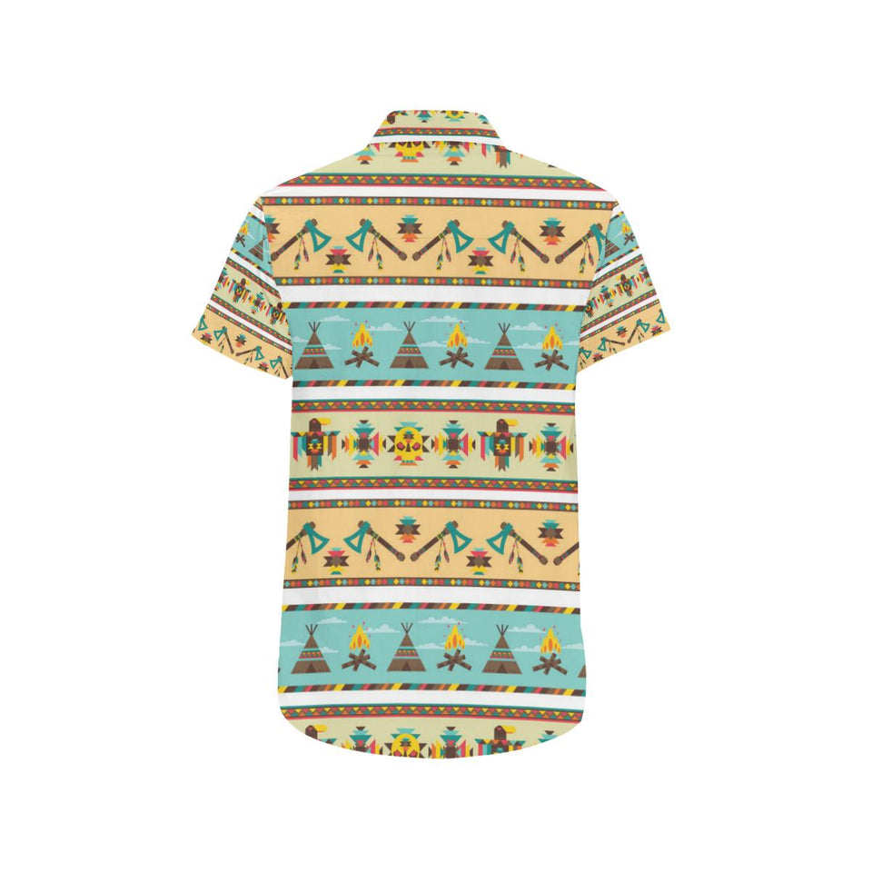 American indian Life Pattern Button Up Shirt-kunshirts.com