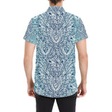 Angel Wings Boho Design Themed Print Button Up Shirt-kunshirts.com