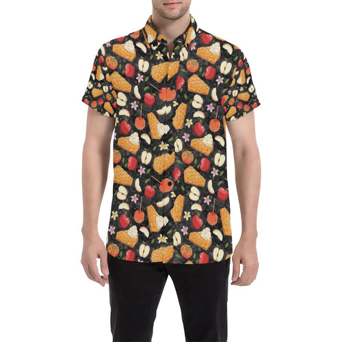 Apple Pie Pattern Print Design 01 Men's All Over Print Shirt (Model T53)-kunshirts.com