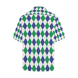 Argyle Green Blue Pattern Print Design 03 Hawaiian Shirt-kunshirts.com
