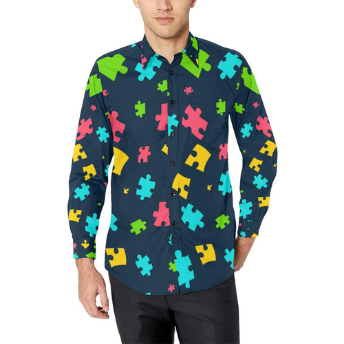 Autism Awareness Colorful Design Print Long Sleeve Dress Shirt-kunshirts.com