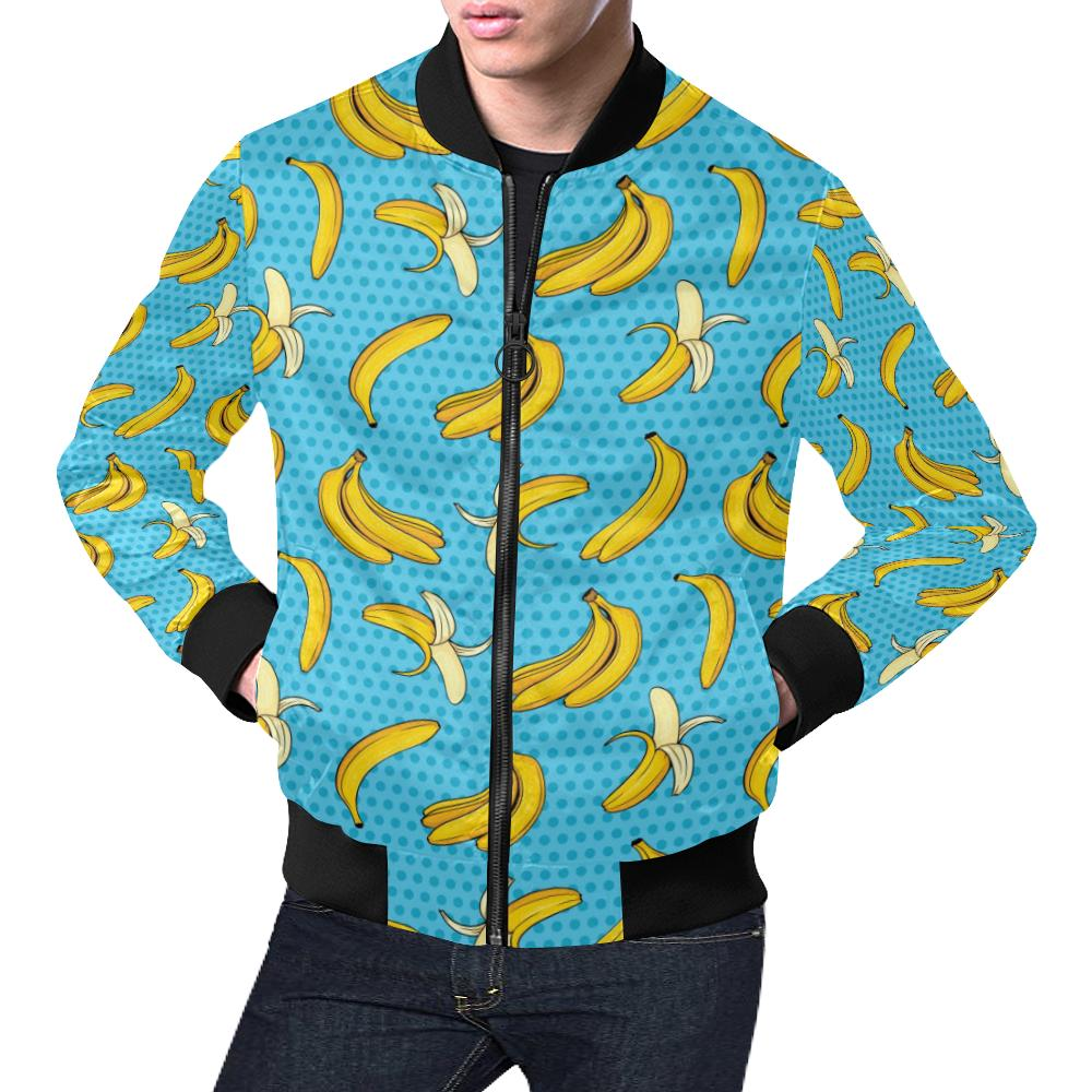 Banana Pattern Print Design BA08 Men Bomber Jacket-kunshirts.com