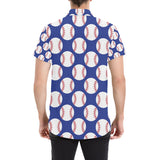Baseball Blue Background Button Up Shirt-kunshirts.com