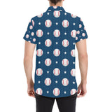 Baseball Star Print Pattern Button Up Shirt-kunshirts.com