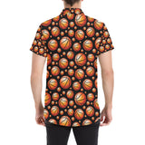 Basketball Black Background Pattern Button Up Shirt-kunshirts.com
