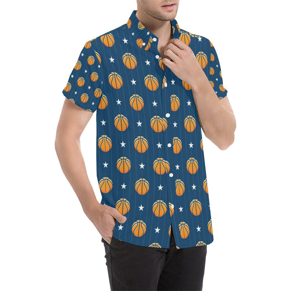 Basketball Star Print Pattern Button Up Shirt-kunshirts.com