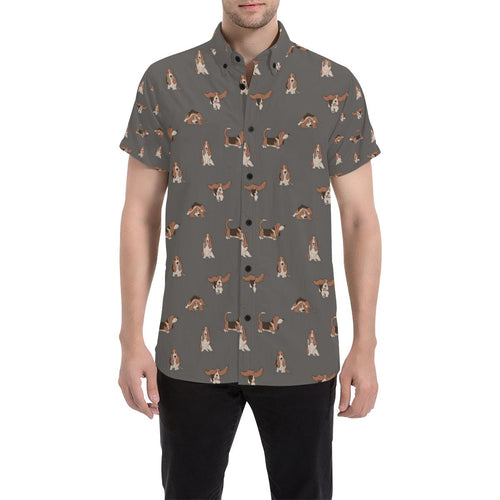 Basset Hound Pattern Print Design 03 Men's All Over Print Shirt (Model T53)-kunshirts.com
