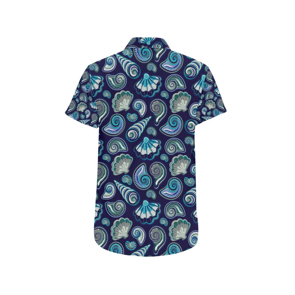 Beach Seashell Blue Print Button Up Shirt-kunshirts.com