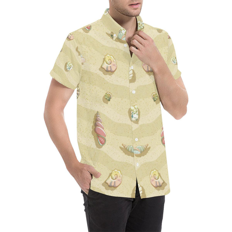 Beach with Seashell Theme Button Up Shirt-kunshirts.com