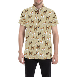 Beagle Pattern Print Design 01 Men's All Over Print Shirt (Model T53)-kunshirts.com