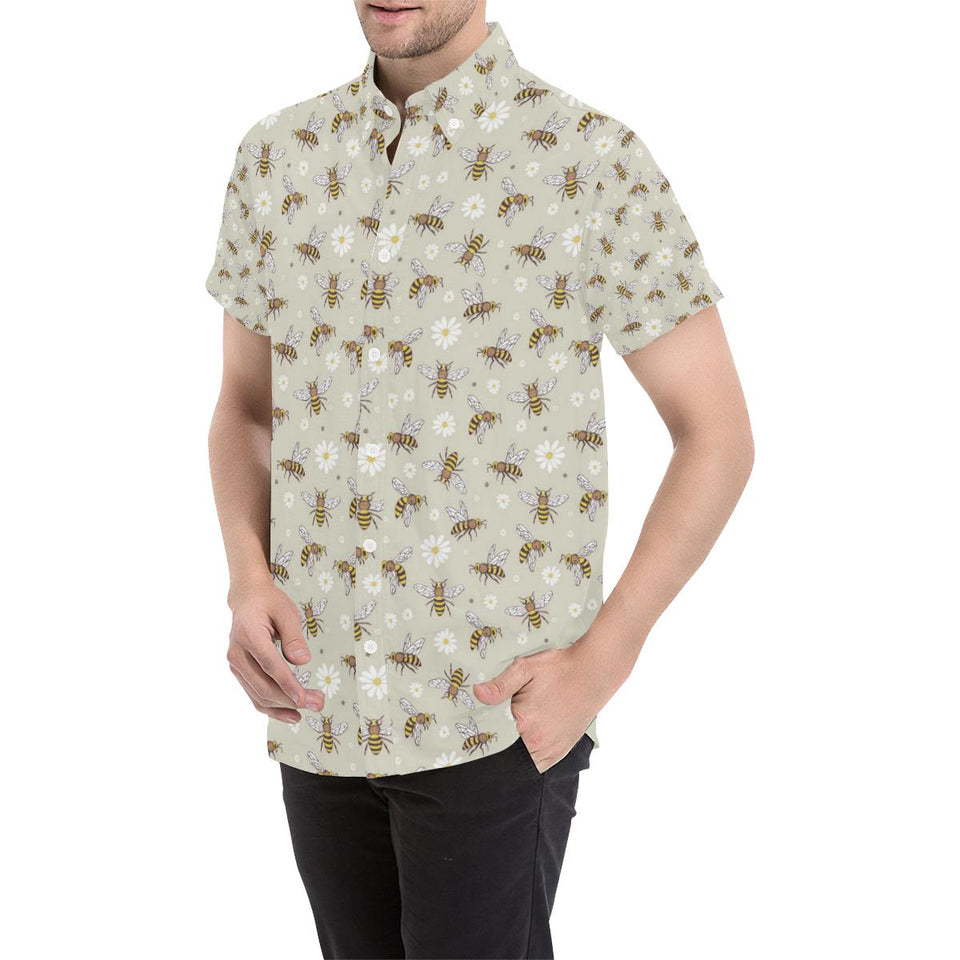 Bee Pattern Print Design 03 Men's All Over Print Shirt (Model T53)-kunshirts.com