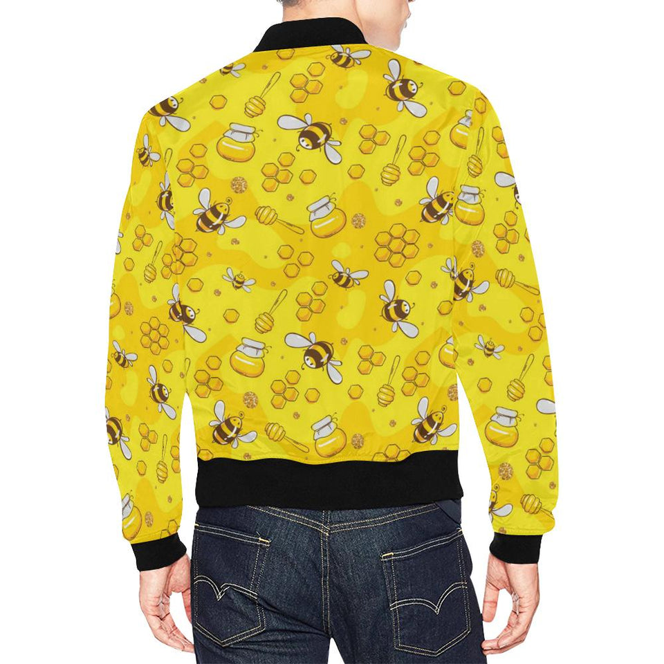 Bee Pattern Print Design BEE01 Men Bomber Jacket-kunshirts.com