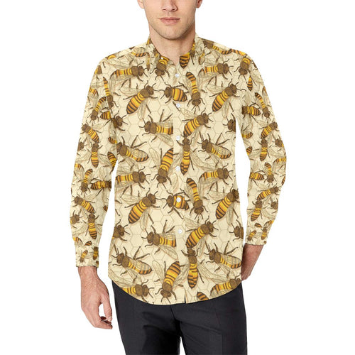 Bee Pattern Print Design BEE05 Long Sleeve Dress Shirt-kunshirts.com