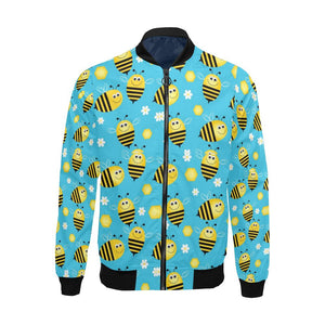 Bee Pattern Print Design BEE06 Men Bomber Jacket-kunshirts.com