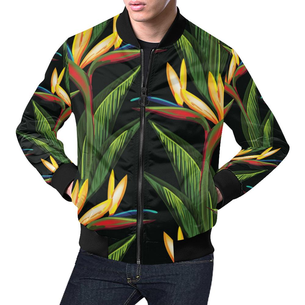 Bird Of Paradise Pattern Print Design BOP012 Men Bomber Jacket-kunshirts.com