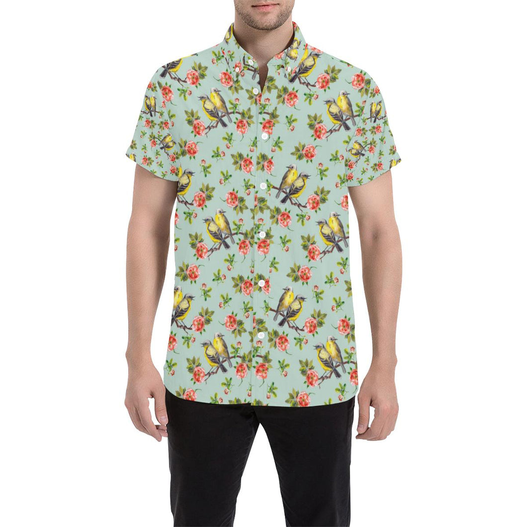 Bird with Red Flower Print Pattern Button Up Shirt-kunshirts.com
