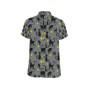 Black Cat Yellow Yarn Print Pattern Button Up Shirt-kunshirts.com