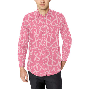 Breast Cancer Awareness Themed Long Sleeve Dress Shirt-kunshirts.com