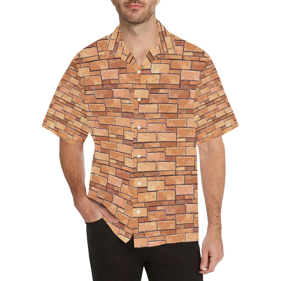 Brick Pattern Print Design 01 Hawaiian Shirt-kunshirts.com