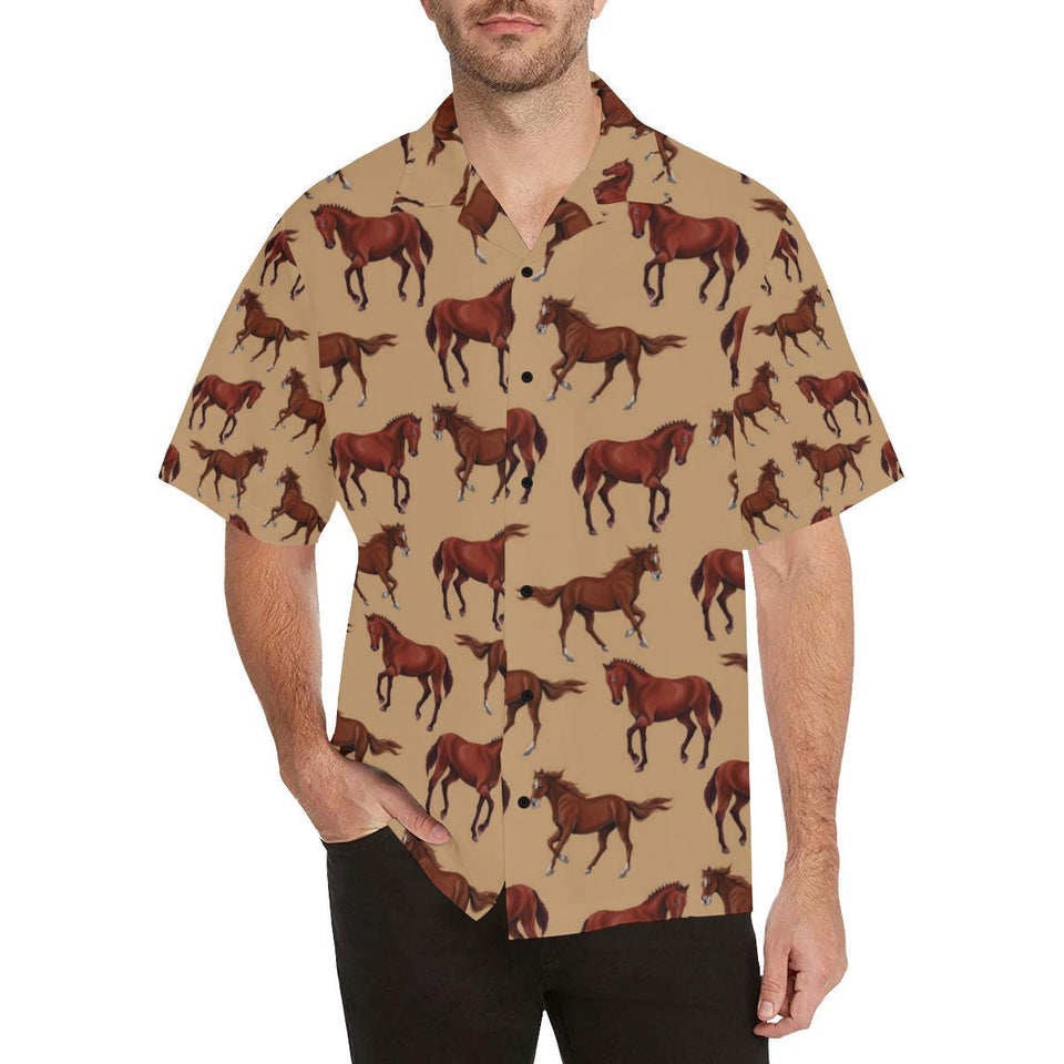 Brown Horse Print Pattern Hawaiian Shirt-kunshirts.com