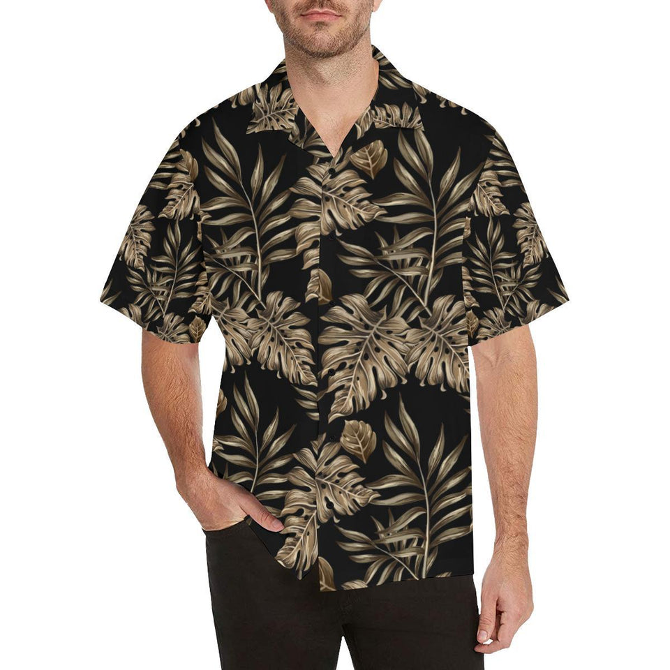 Brown Tropical Palm Leaves Hawaiian Shirt-kunshirts.com