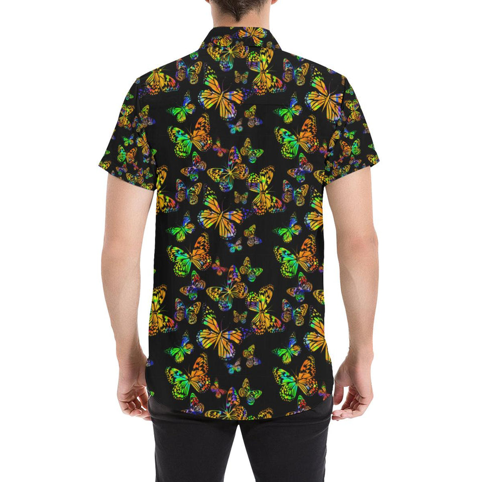 Butterfly Neon Color Print Pattern Button Up Shirt-kunshirts.com