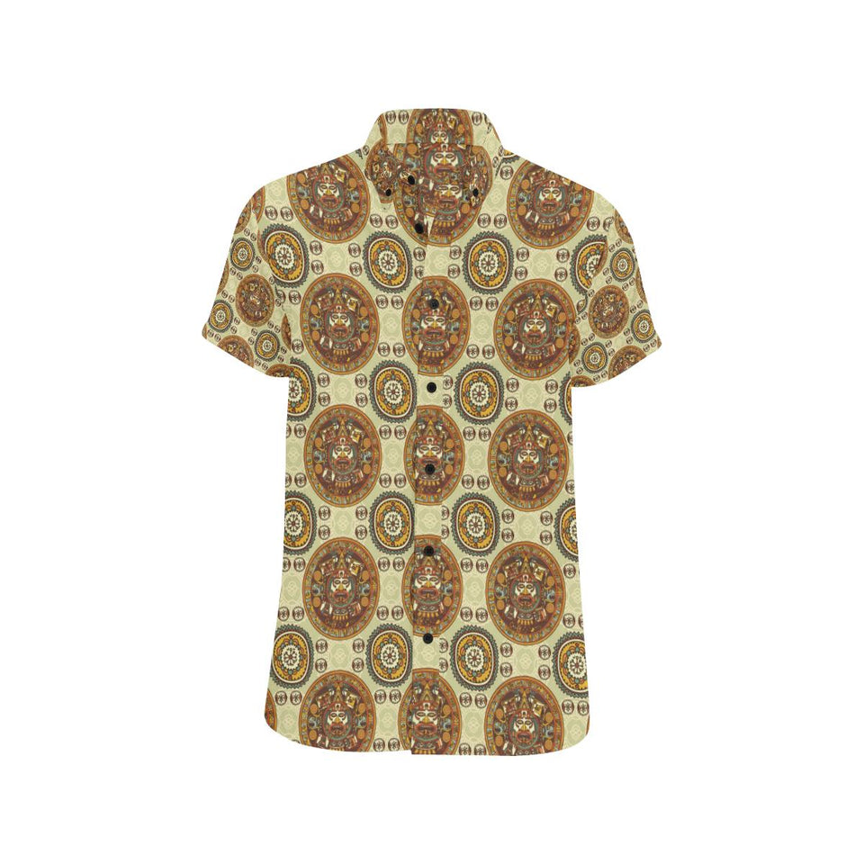 Calendar Aztec Themed Print Pattern Button Up Shirt-kunshirts.com