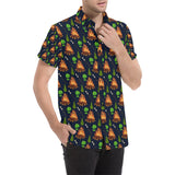 Camfire marshmallow Camping Design Print Button Up Shirt-kunshirts.com