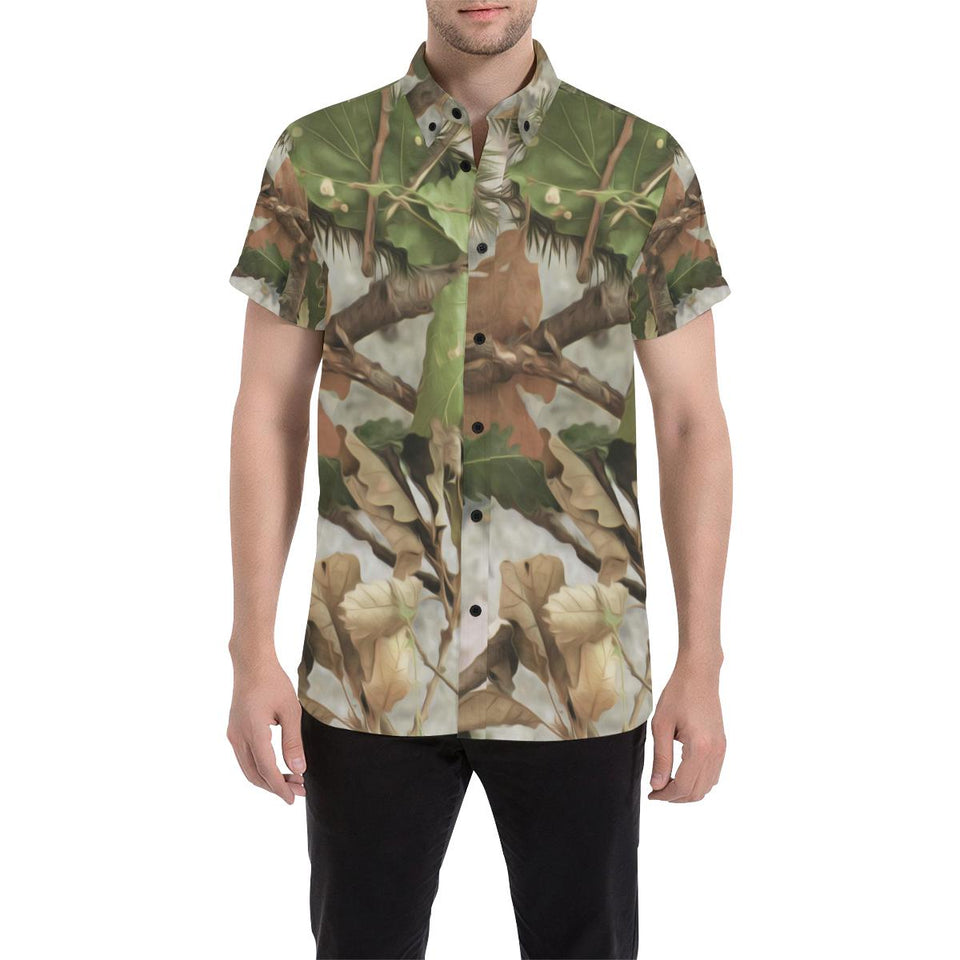Camo Realistic Tree Forest Print Button Up Shirt-kunshirts.com