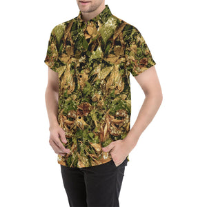 Camo Realistic Tree Forest Texture Print Button Up Shirt-kunshirts.com