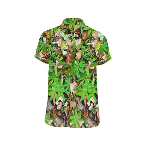 Camouflage Realistic Tree Fresh Print Button Up Shirt-kunshirts.com