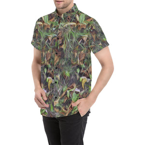 Camouflage Realistic Tree Print Button Up Shirt-kunshirts.com