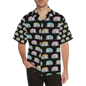 Camper Pattern Camping Themed No 2 Print Hawaiian Shirt-kunshirts.com