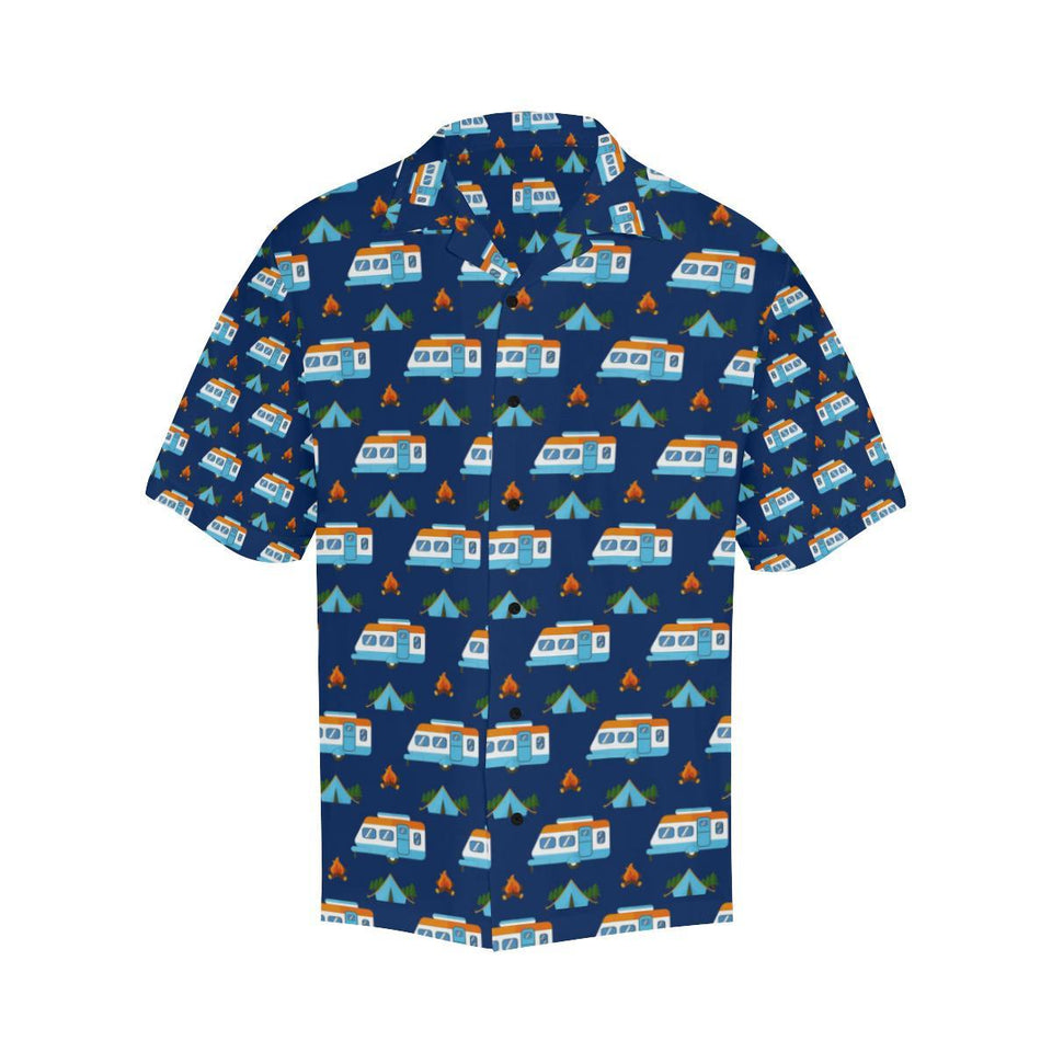 Camper Pattern Camping Themed No 3 Print Hawaiian Shirt-kunshirts.com