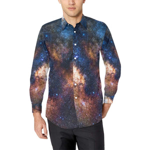 Celestial Milky way Galaxy Long Sleeve Dress Shirt-kunshirts.com