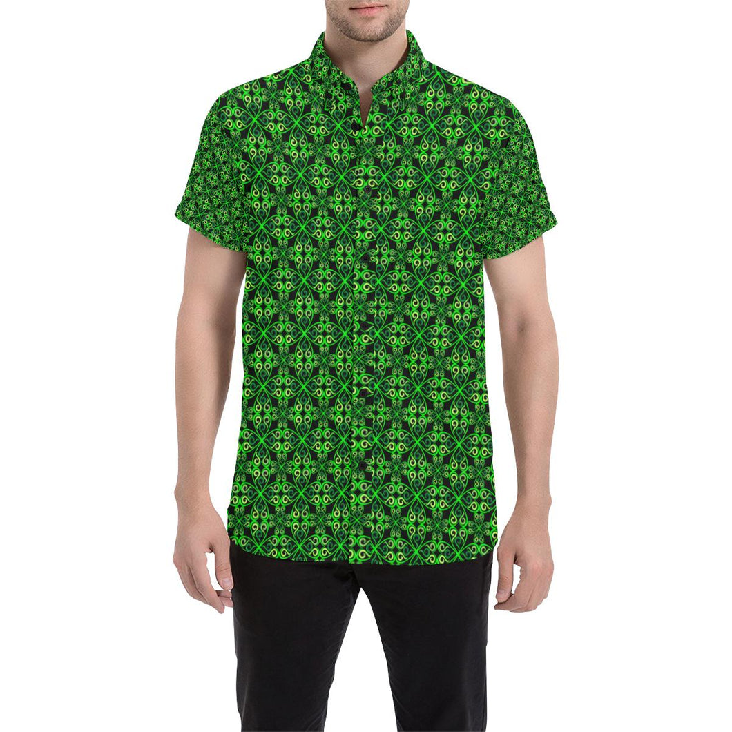 Celtic Green Neon Design Button Up Shirt-kunshirts.com