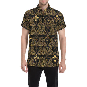 Celtic Knot Gold Design Button Up Shirt-kunshirts.com