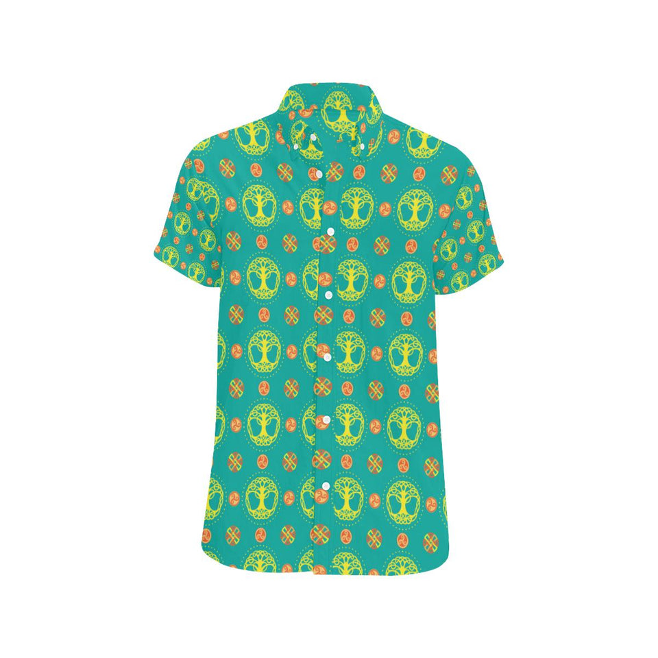 Celtic Tree of Life Print Pattern Button Up Shirt-kunshirts.com